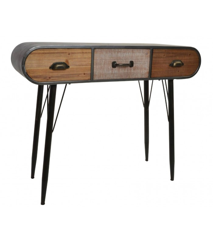 console en m tal et bois 3 tiroirs. Black Bedroom Furniture Sets. Home Design Ideas