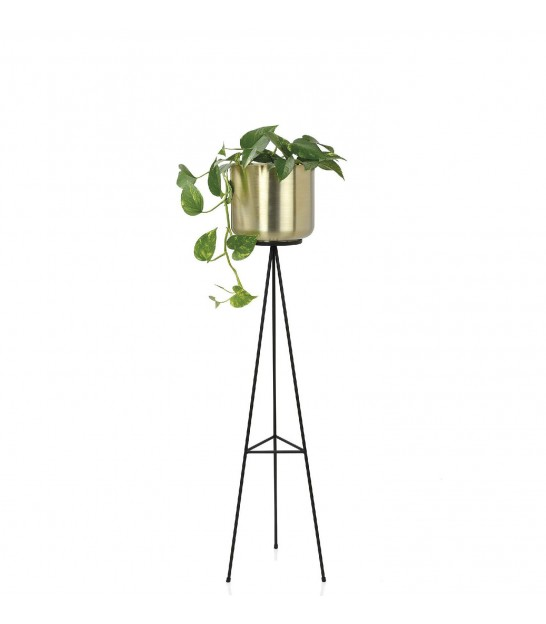 Plant Pot Holder on Stand Black and Gold