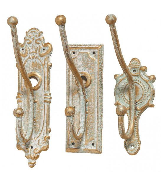 Set of 3 Coat Hooks Aged Golden Metal