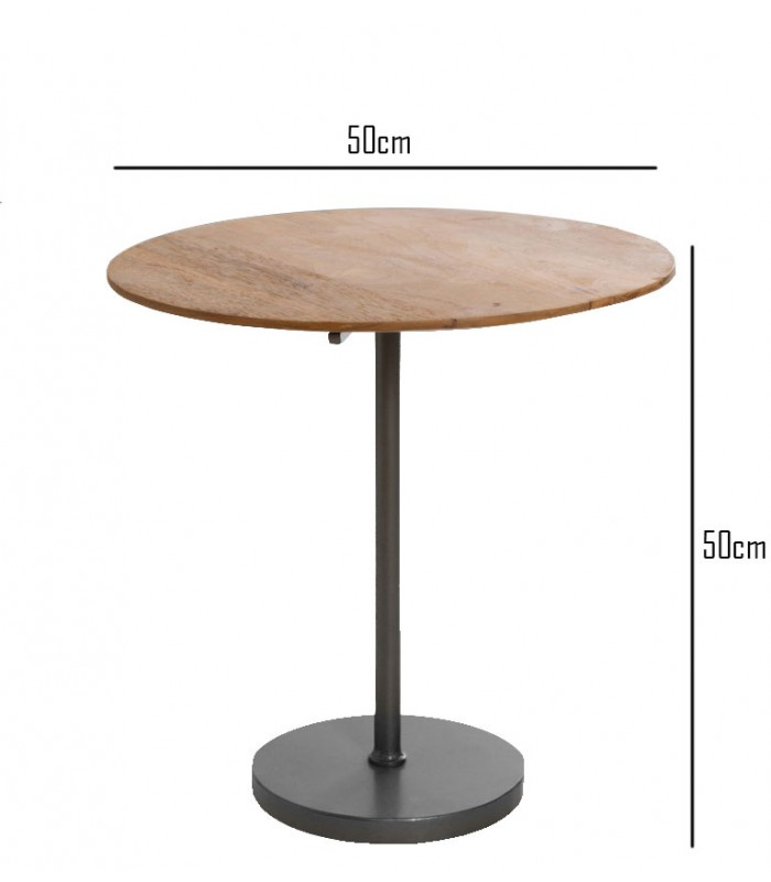 Round Side Table Wood And Metal