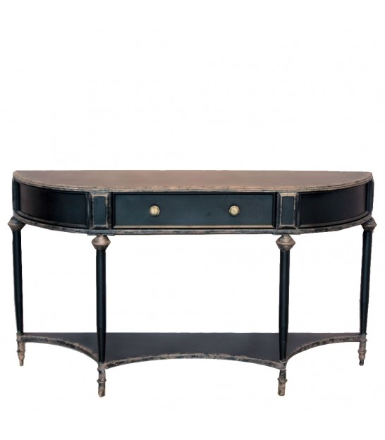 Console Table Black Metal 1 Drawer
