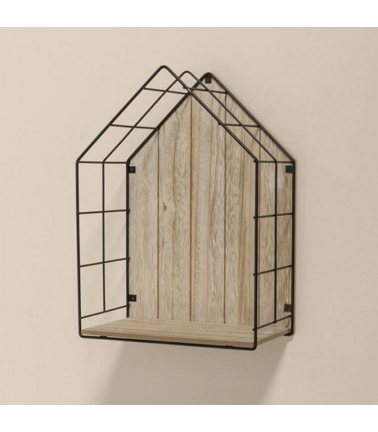 Set of 2 Black Metal House Wall Rack