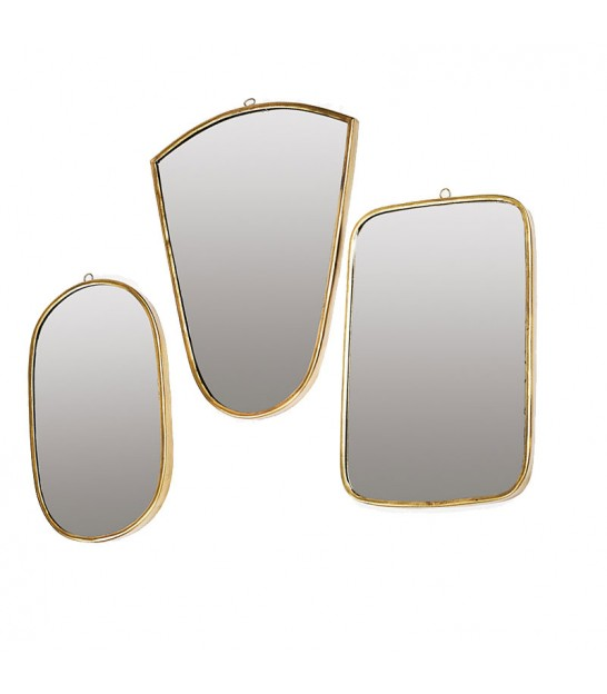 Set of 3 Wall Decorative Mirrors Brass