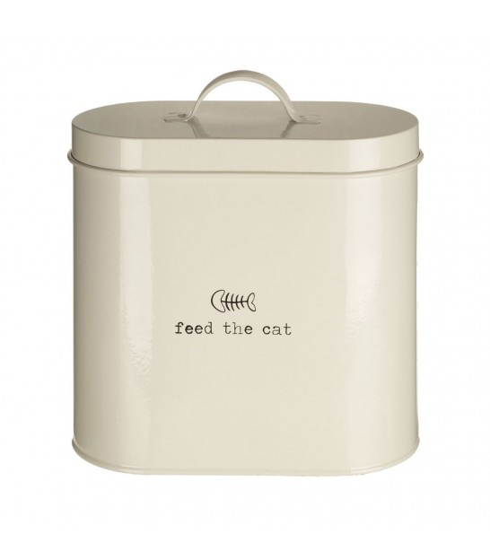 Beige Metal Cat Food Storage