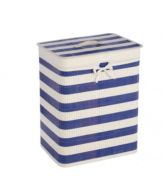 Nautical Blue and White Laundry Basket Bamboo