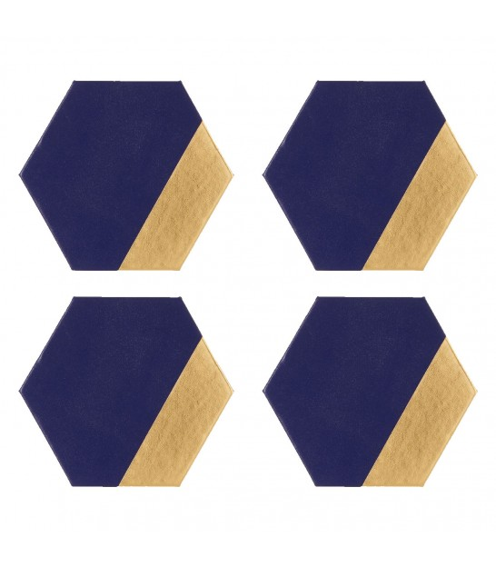 Set of 4 Leather Effect Hexagon Coasters