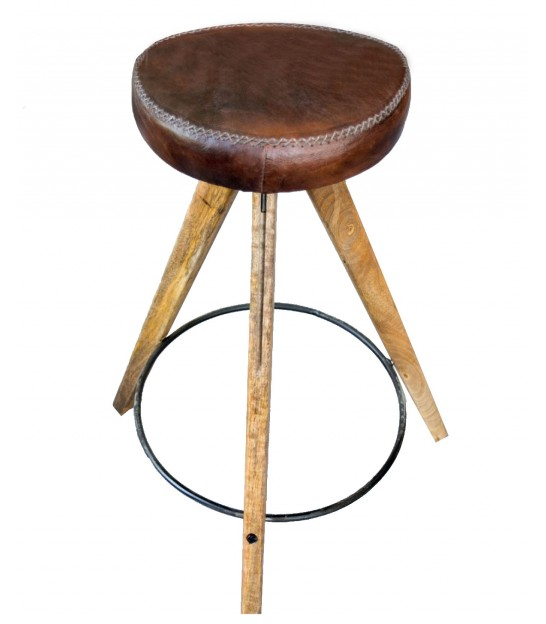 Bar Stool Wood and Leather - height 76cm
