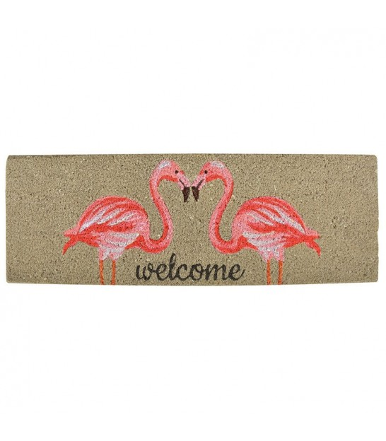 Paillasson Coco Flamants Roses Welcome - 75x25cm