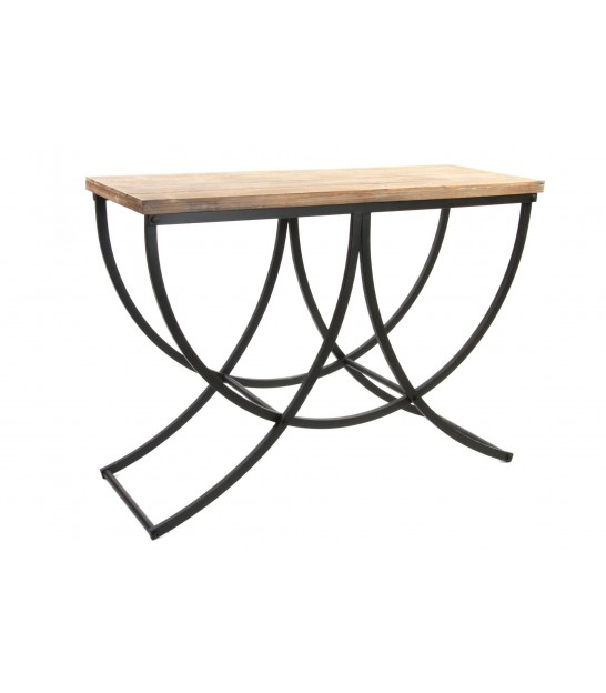 Console Table Wood and Black Metal
