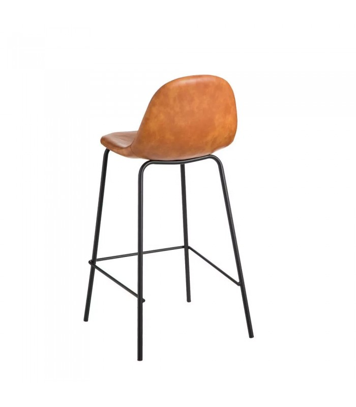 Bar Stool Vintage Fake Leather And Metal