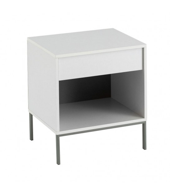 Nightstand White MDF 1 Drawer