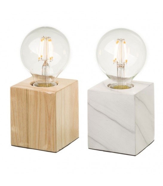 Set of 2 Wood Table Lamps - Wood and White Marble