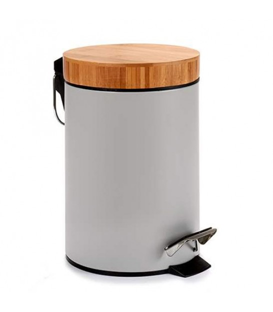 Bathroom Bin Grey Metal and Bamboo