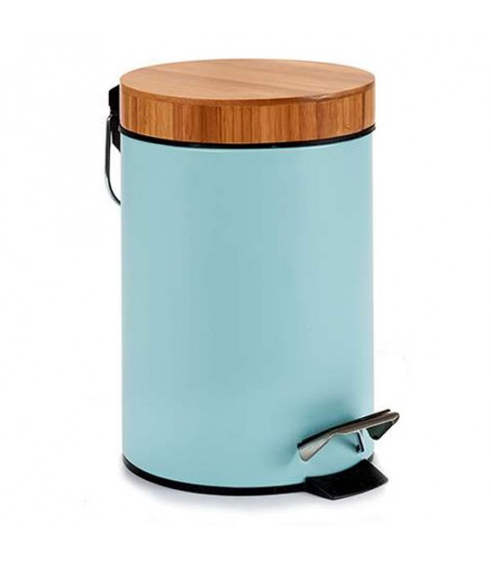 Bathroom Bin Blue Metal and Bamboo