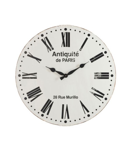 Wall Clock Metal Black and White Paris - 61cm