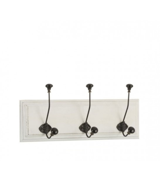 Wall Coat Rack 2 Hooks White and Black