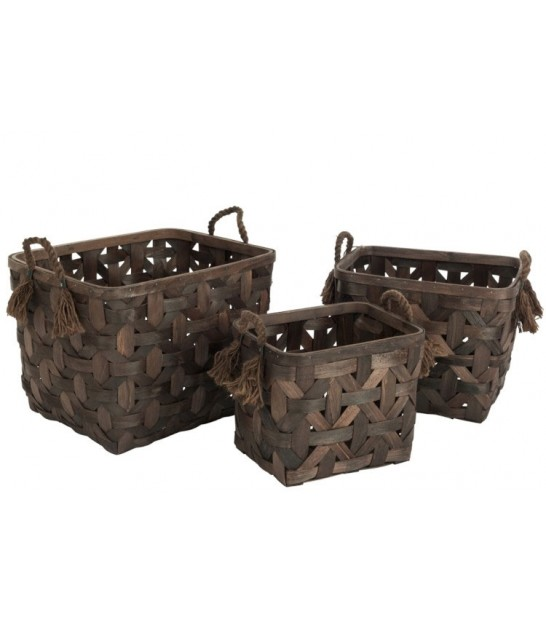 Set of 3 Baskets Brown Rattan