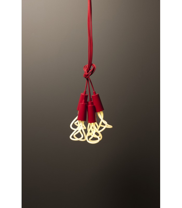 Suspension design c ble et cache douille rouge plumen for Suspension rouge