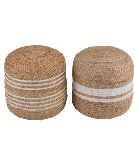 Round Stripped Rattan Pouf Ethnic