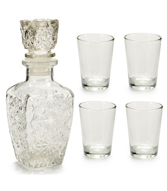 Set glass liquor bottle conical 4 shots