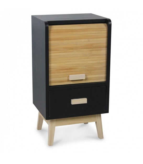 Design Black Wooden Bedside Table