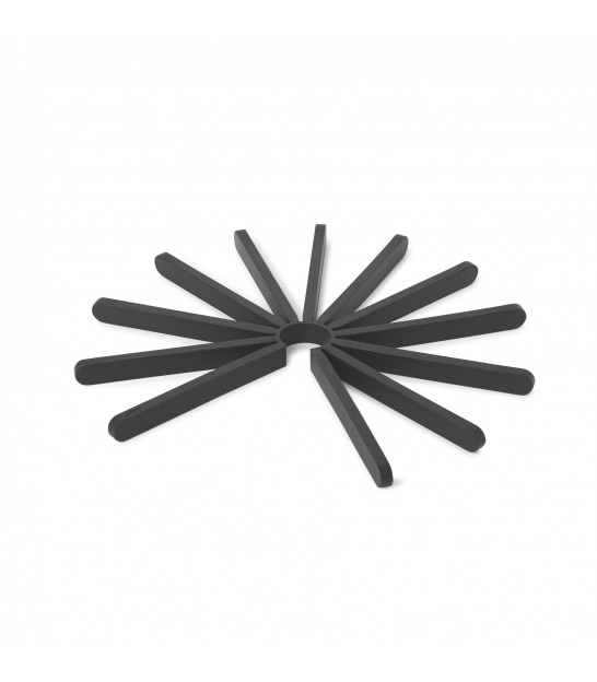 Set of 2 Black Silicone Trivets Fanfare