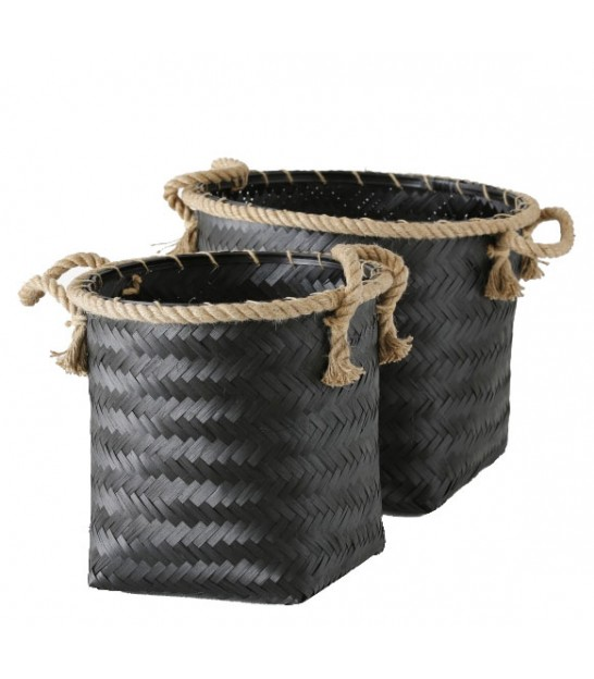 Set of 2 Black Bamboo Baskets and Rope