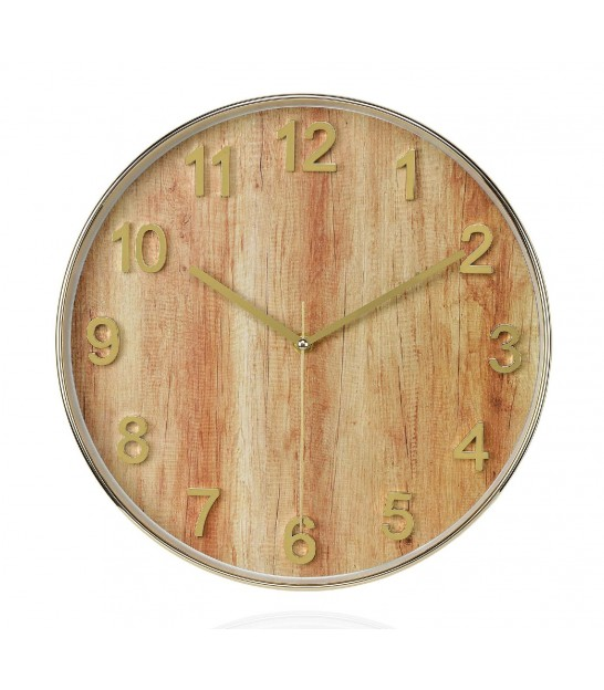 Wall Round Golden Clock Wood Effect