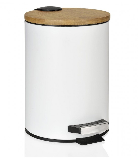 Bathroom Bin White Metal and Bamboo