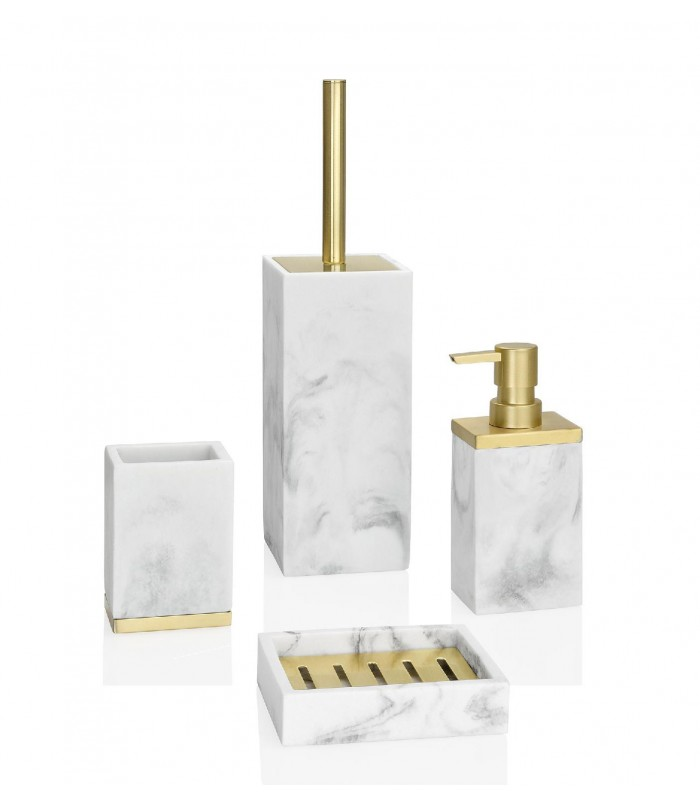 Soap Dispenser Resin White Marble Effect And Gold Metal
