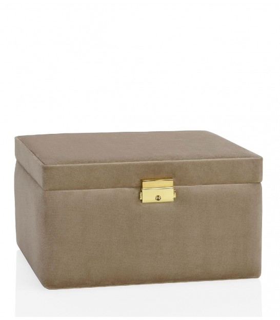 Beige Velvet Jewelry Box - Length 23cm
