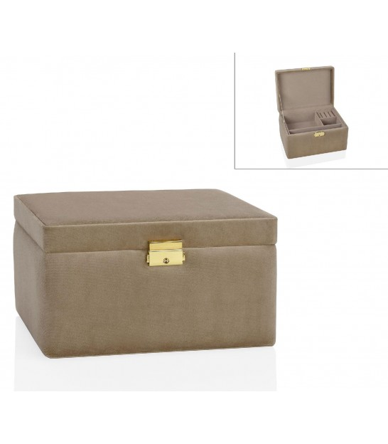 Beige Velvet Jewelry Box