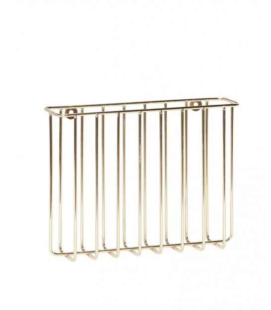 Magazine Holder for Wall, Metal, Gold