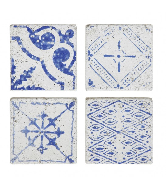 Set of 4 Concrete Coasters Blue