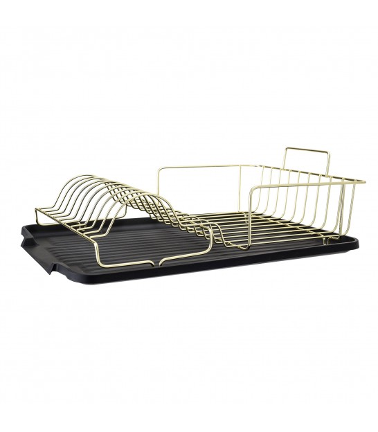Dish Rack Black and Golden Metal