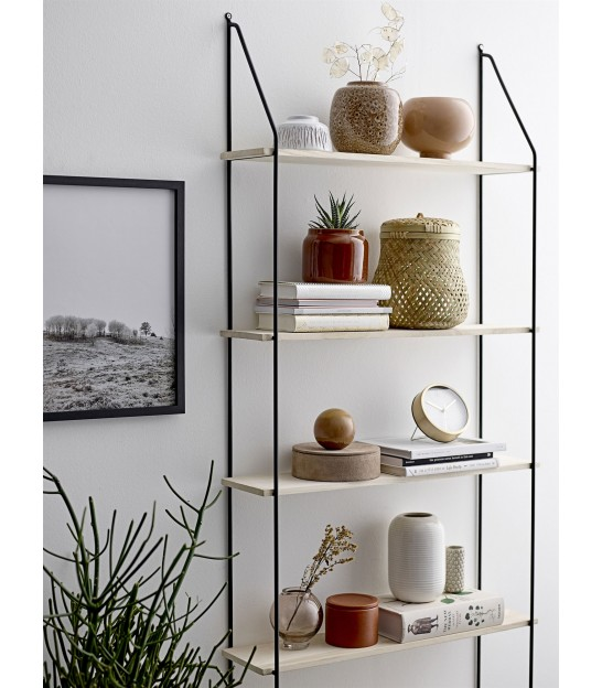 Wall Shelf Black Metal and Wood