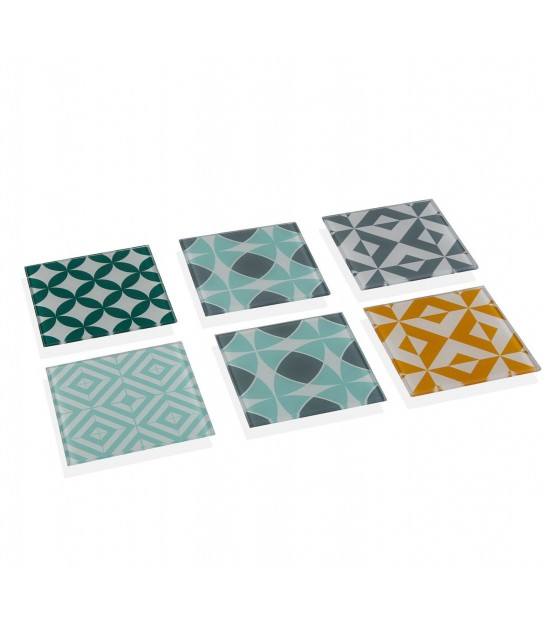 Set of 6 Multicolour Glass Coasters