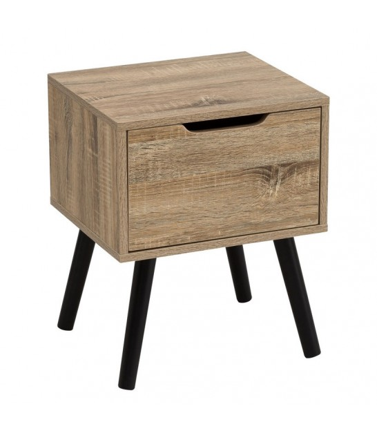 Nightstand Wood 1 Drawer Black and Wood