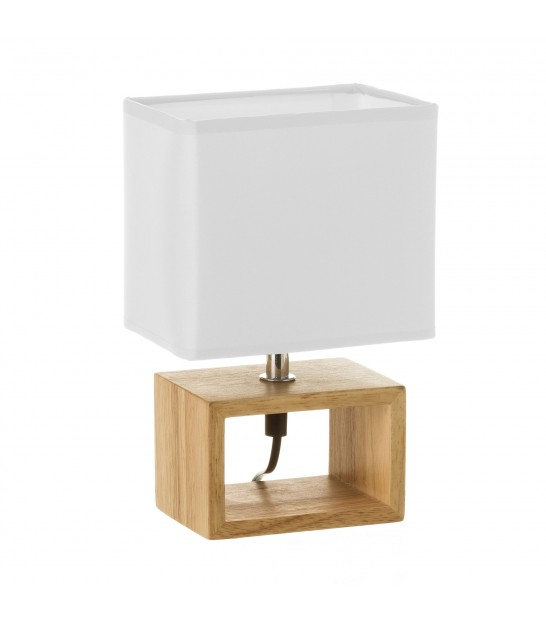 Lampe à Poser Rectangle Bois Abat-jour Blanc