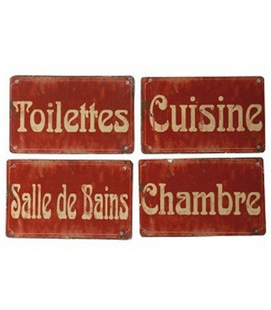 Set of 4 Decorative Plates Toilet, Bedroom, Bathroom