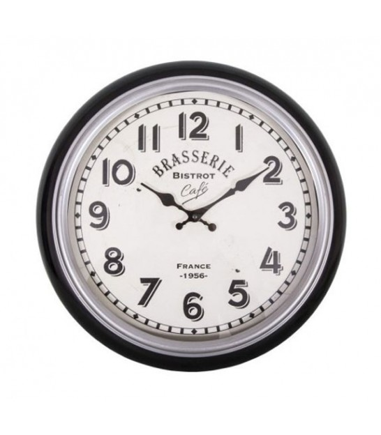 Round Wall Clock Black and White Brasserie