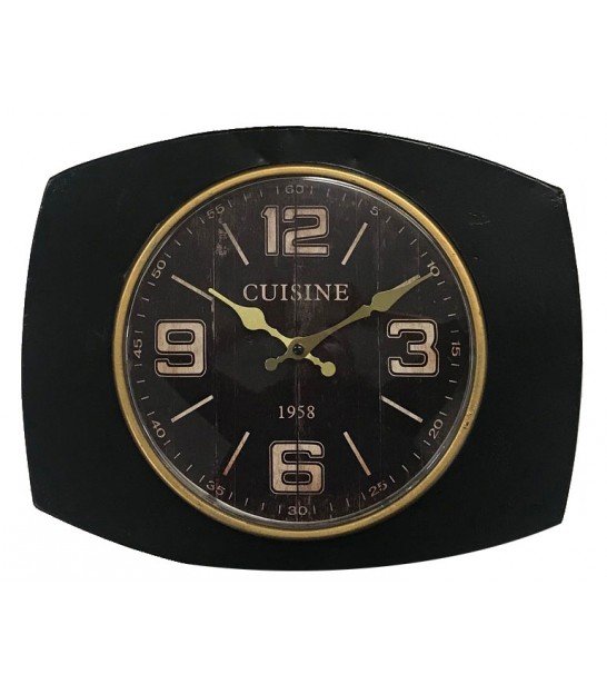 Wall Kitchen Clock Metal Black and Gold
