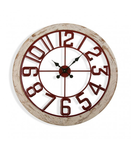 Round Wall Clock Metal Vintage Red