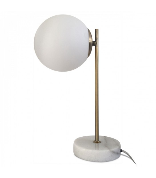 Table Lamp Black Marble, Glass and Brass