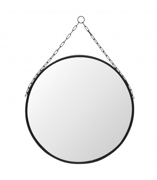 Suspended Mirror Black Metal