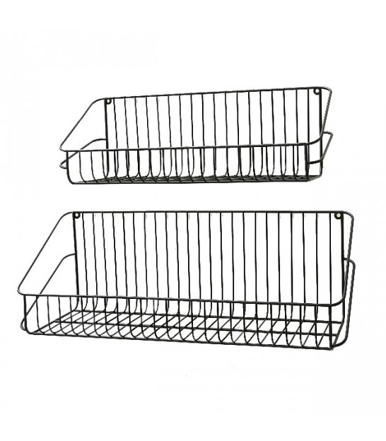 Set of 2 Black Metal Wall Shelves