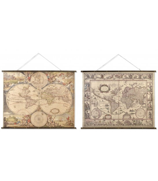 Set of 2 World's Map Linen Wall Decoration - 155x122cm