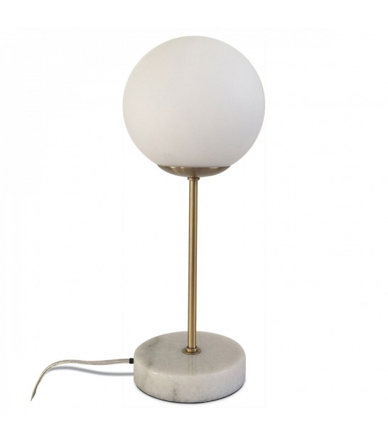 Table Lamp White Marble, Glass and Brass
