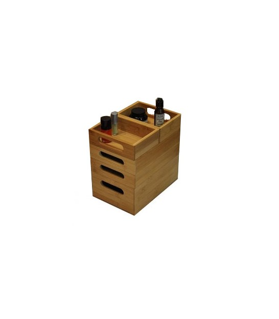 Bamboo Bathroom Organizer Stackable