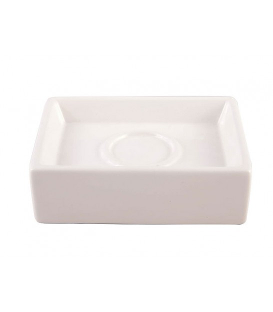 Porte Savon Rectangulaire Faience Blanche Circle